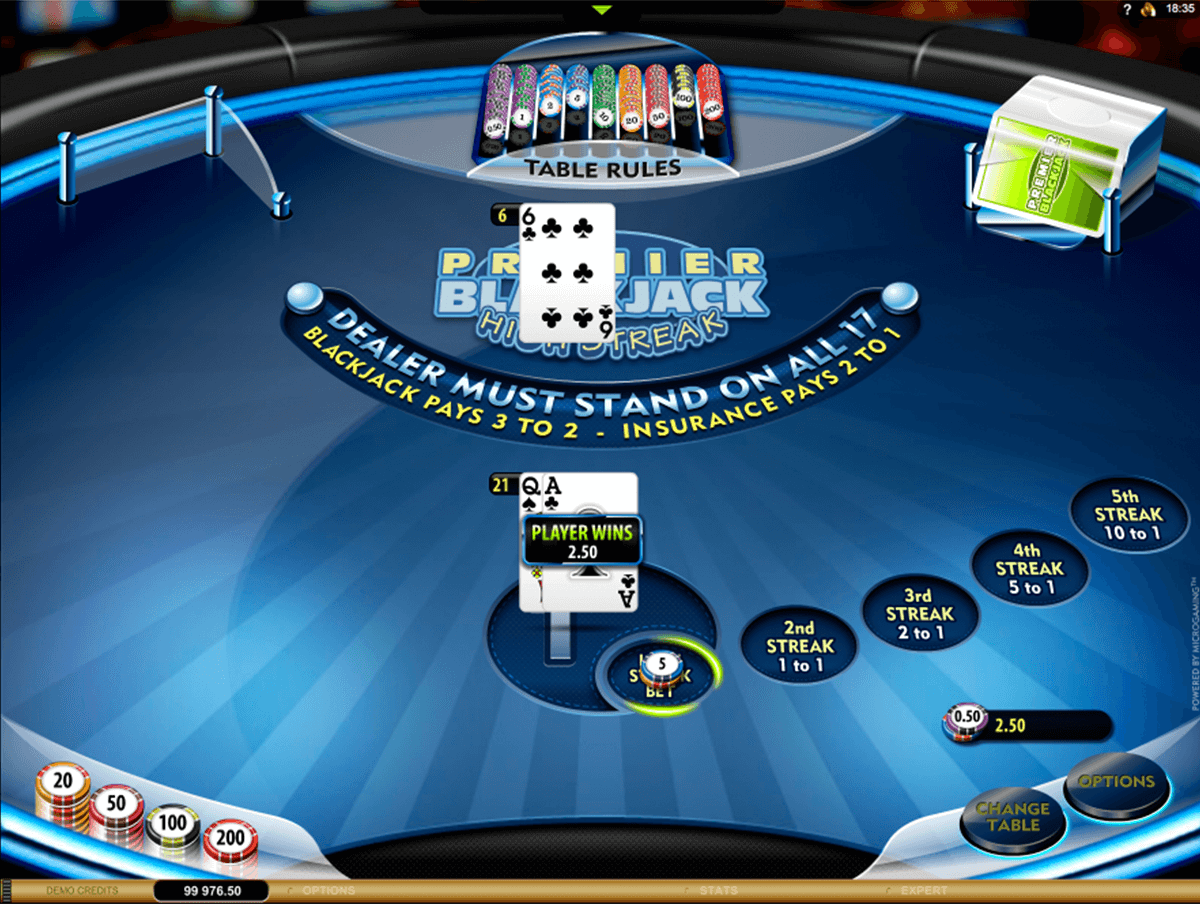 premier high streak blackjack microgaming