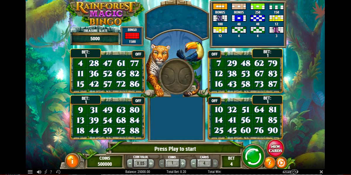 rainforest magic bingo playn go